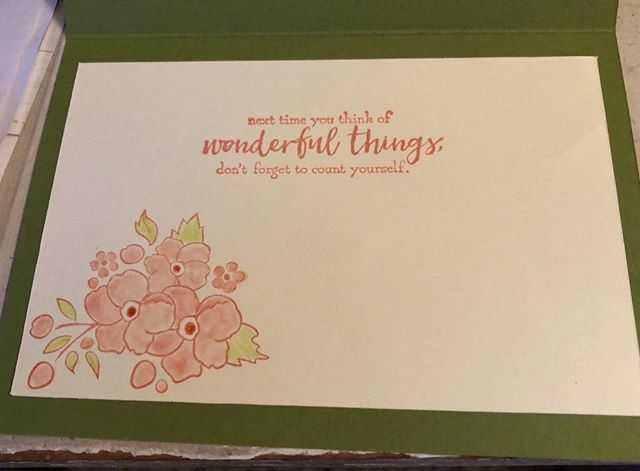 """Flowery Hello Card """"Inside"""" Using Just Add Text and Bordering on Romance StampSets"""