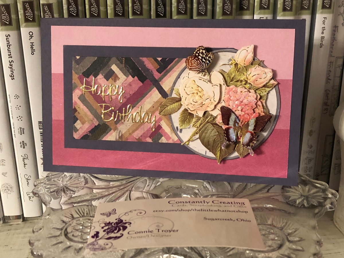 Berry-and-Blue Birthday 3D Decoupage Quilt Card
