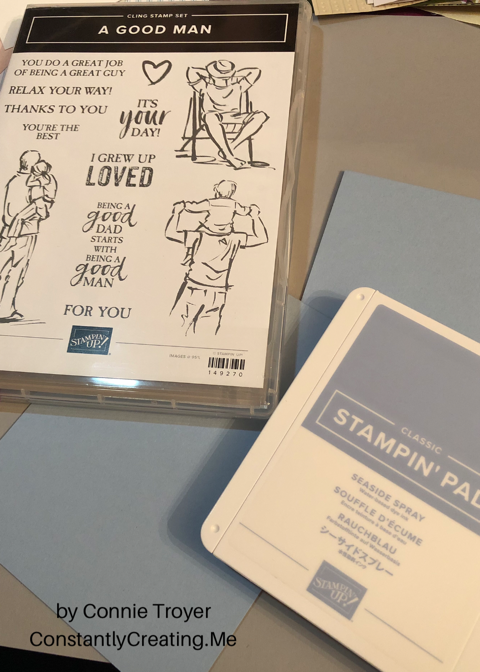 """A Good Man"" Stamp Set with Seaside Spray In-Color for Stamp with Amy K's Tuesday Blog Hop"