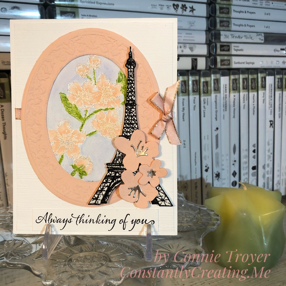 Flowery Eiffel Tower Love Card with Stampin' Up's Forever Blossoms, Parisian Beauty, and Last a Lifetime for Stamp with Amy K's Tuesday Blog Hop