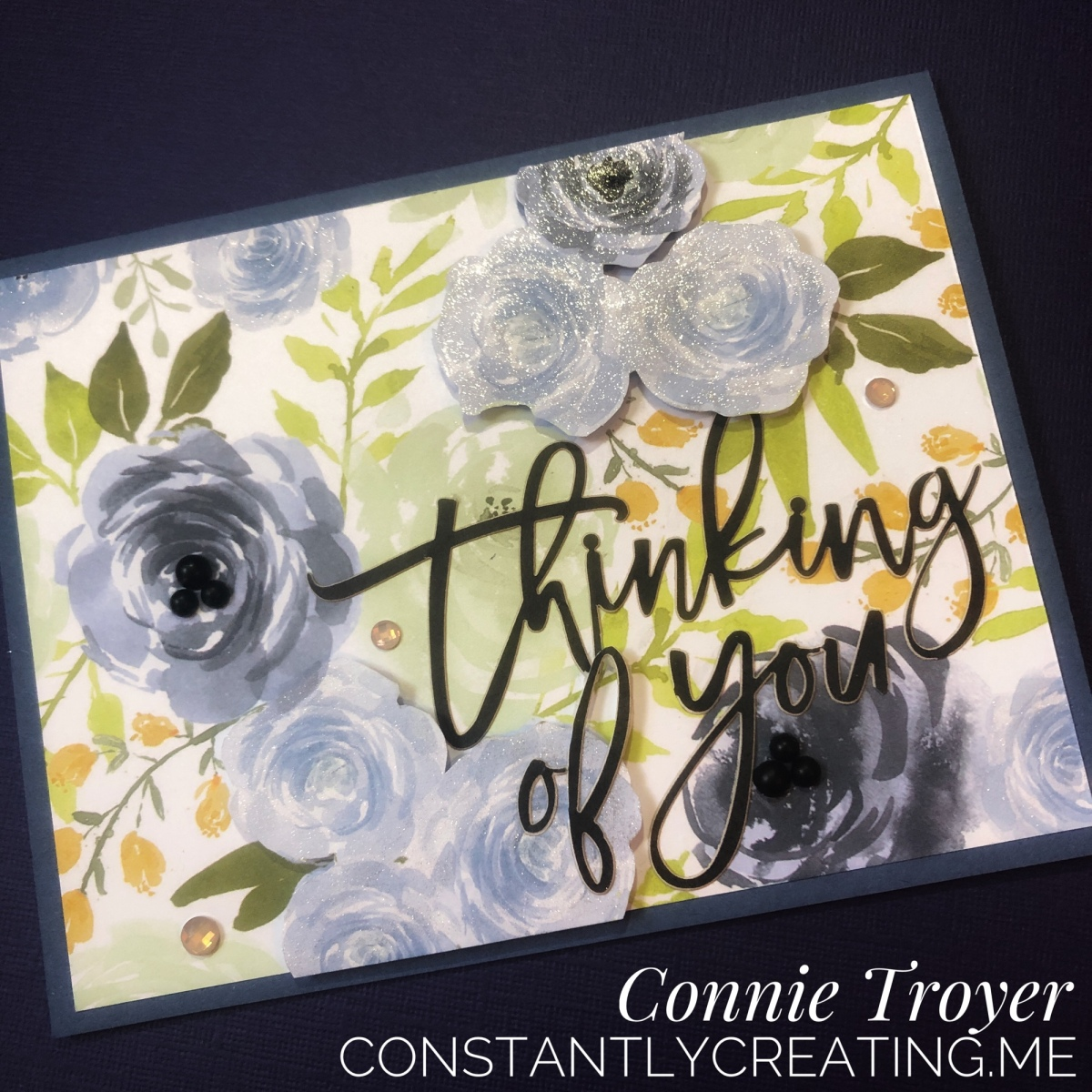 Thinking of You Card in Blue Roses (Stampin' Up Embellishments and Paper Pumpkin Sentiment)