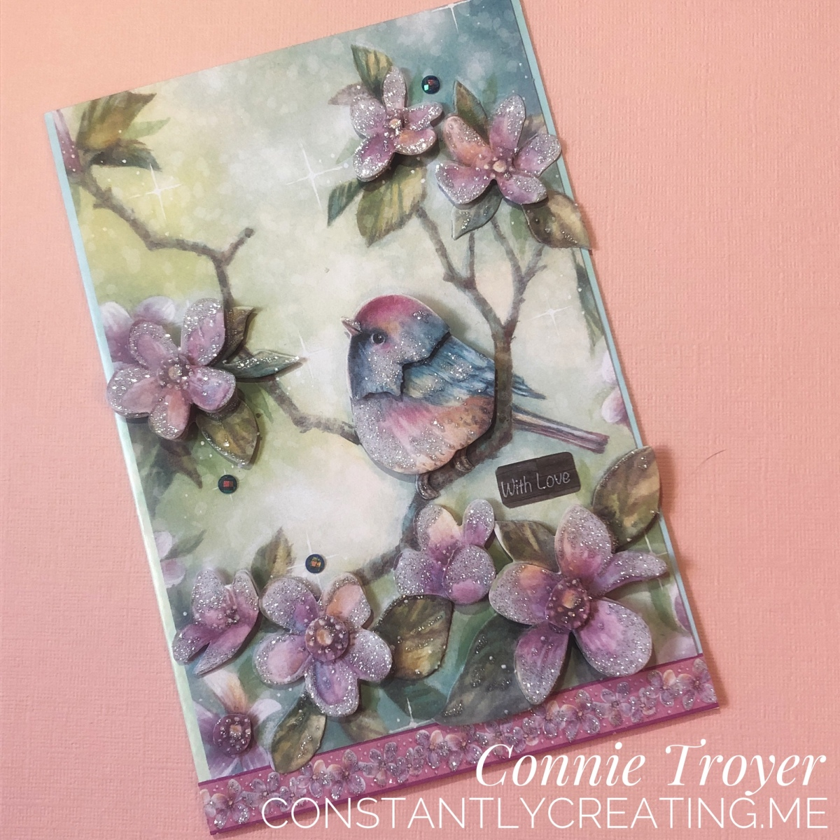 3D Decoupage Bird and Flowers Card with Glitter Accents (a Kit Card)